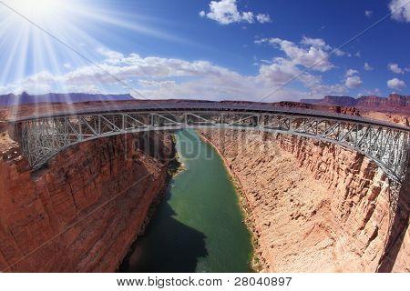 Shining sun on the bridge over the Colorado River