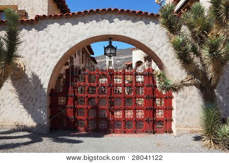 Scotty's Castle in Death Valley in the USA. Beautiful red latticed gate