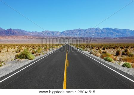 Great American road, crossing a huge Death Valley in California
