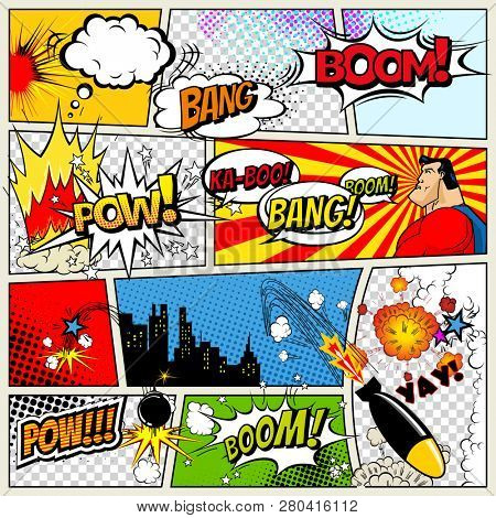 Comics Template Retro Comic Book
