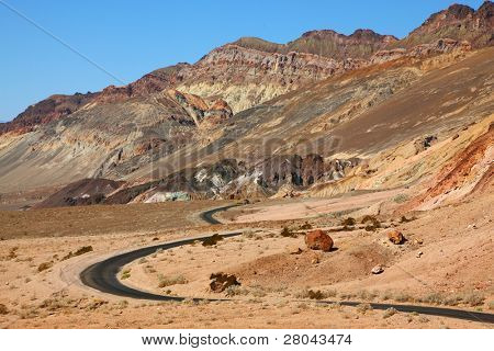 Excellent road, crossing Death Valley in the USA. The desert and mountains