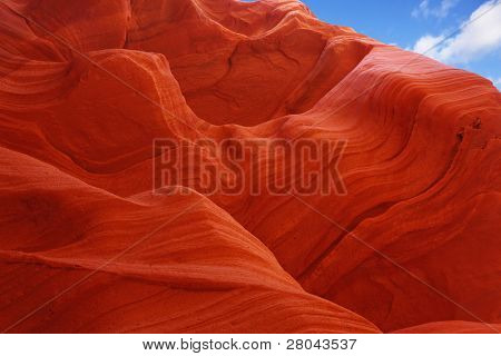 Fiery color in the stone. The famous Antelope Canyon in the Navajo Indian Reservation. USA