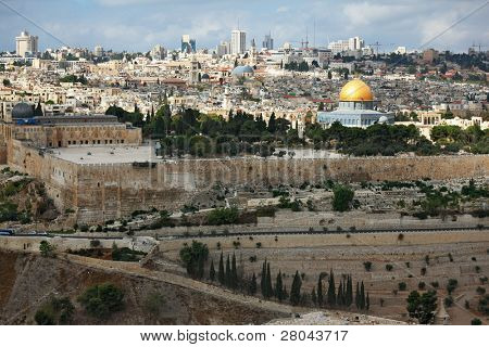 Magnificent panorama of Jerusalem. Dome of the Rock, Omar Mosque and the Dome of the Holy Sepulcher