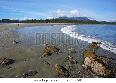 Vancouver Island. On the Pacific beach begins tide, the sand lies wet waves