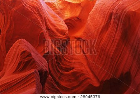 Magic play the red and yellow colors in the famous Antelope Canyon in the Navajo Indian Reservation. U.S.