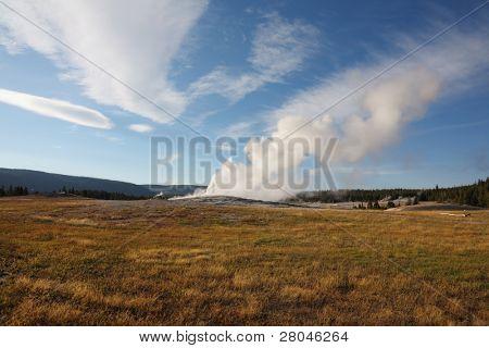 Yellowstone National Park.The world-famous Old Faithful geyser