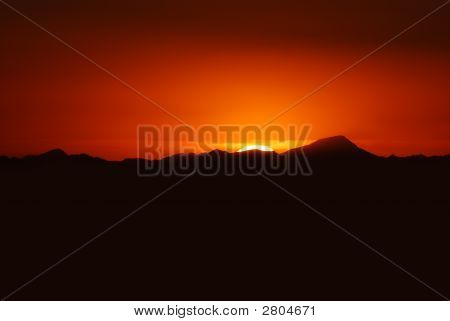View Of Mountains Surrounding Phoenix At Sunset, Arizona