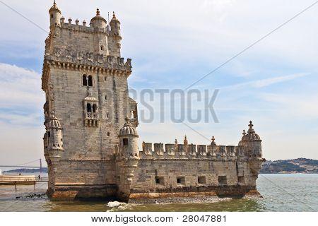 die bekannte Festung Belen in einer Flussmündung Tejo. Portugal, Lissabon