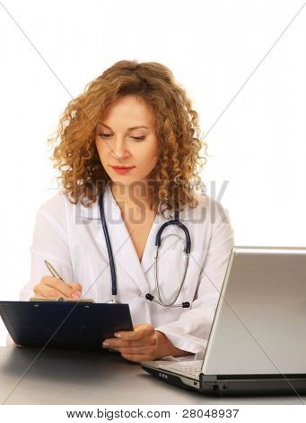 A female doctor at her workplace, isolated on white background