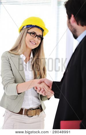 Businessman and female engineer making a deal at office