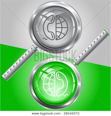 Globe and phone. Raster magnifying glass. Vector version is in my portfolio.