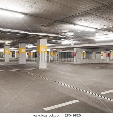 Empty underground  parking lot area