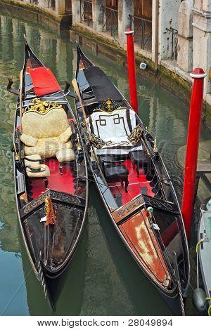 The Interior Of The Traditional Venetian Gondola