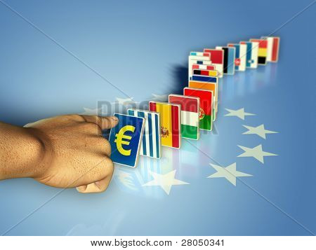 The flags of the european community countries became domino pieces, ready to fall together with their currency. Digital illustration.