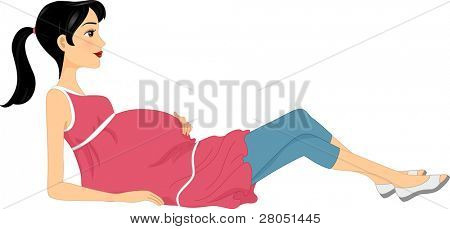 Illustration of a Woman Doing a Pregnancy Exercise