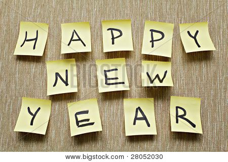 Happy new year message on sticker