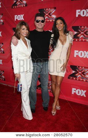 "LOS ANGELES - DEC 19: LA Reid, Chris Rene, Nicole Scherzinger, Josh Krajcik, Paula Abdul, Simon Cowell, Melanie Amaro at the FOX's ""The X Factor"" at CBS Studios on December 19, 2011 in Los Angeles, CA"