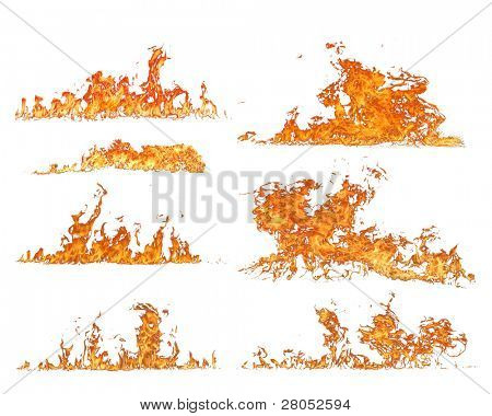 High resolution fire collection of isolated flames on white background