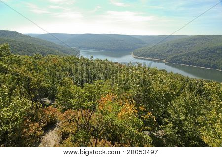 overlook of reservoir lake in the Allegheny National Forest