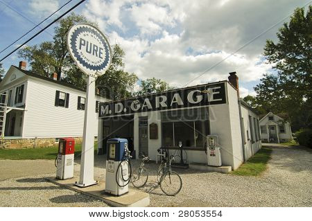 old fashioned gas station and bikes