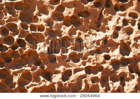 holes in rock face