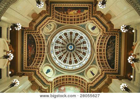 interior dome at the Pennsylvania State Capital Building in Harrisburg