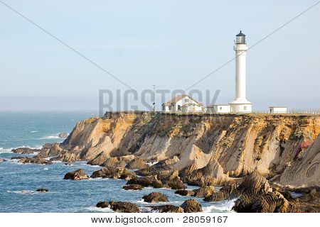 Point Arena Light and rock formations