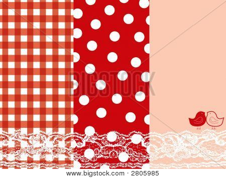 Red And Pink Summer Scrapbook Panels And Bird