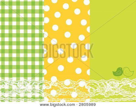 Green And Yellow Summer Scrapbook Panels And Bird