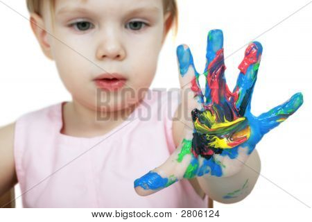 Colored Child'S Hand