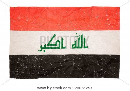 beschädigte Flagge des Irak