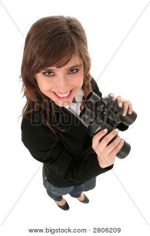 Businesswoman Holding Binoculars