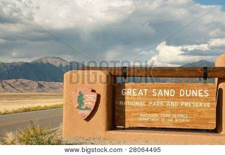 Great Sand Dunes National Park Zeichen