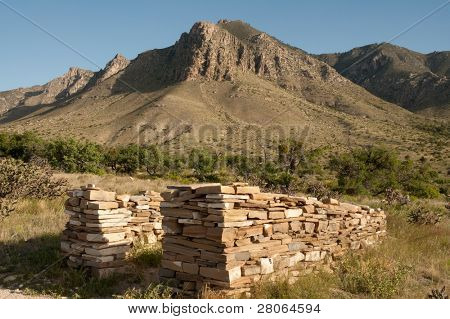 pinery station stone ruins and mountains