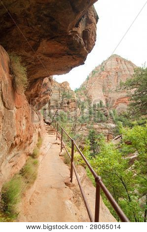 cliffside walking trail and railing