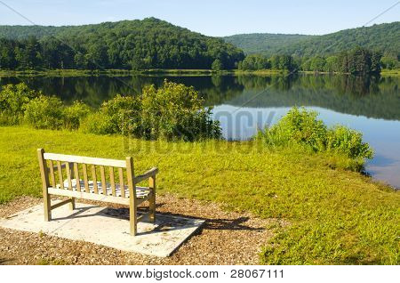 bench overlooking Red House Lake, trees and hills