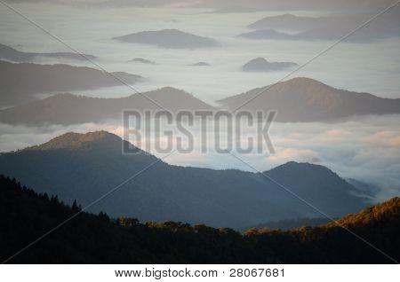 fog in mountain valleys
