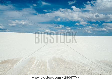 salt playa at the edge of a sand dune