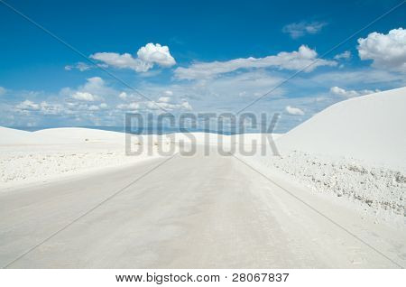 road covered in white sand