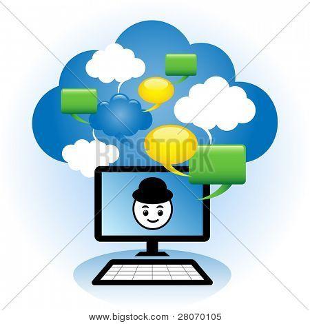 Conceito de chat online. Brainstorm e colaboração de ideias através da internet.