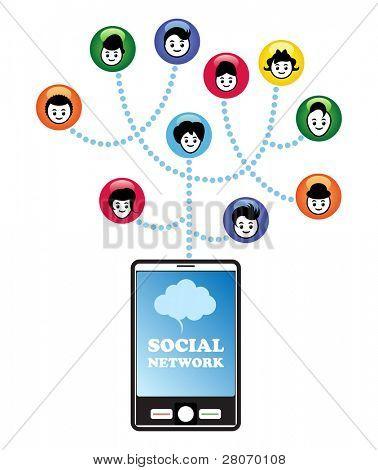Conceito de rede social. Redes sociais através do smartphone.