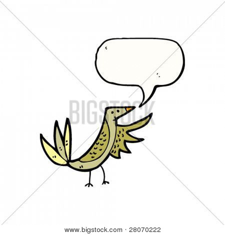 bird with speech bubble pointing with wing