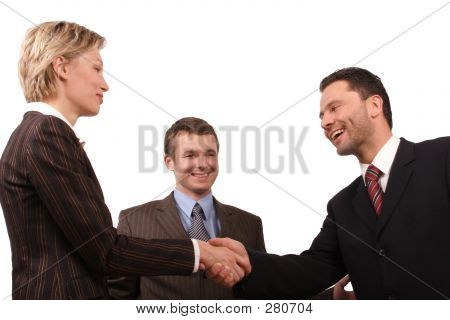 Group Of  3 Busisness People - Man And Woman Hand Shake