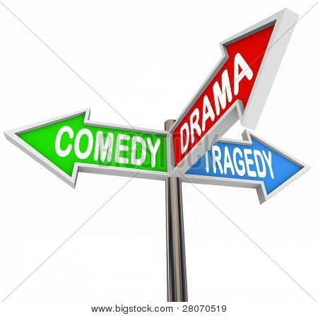 Three colorful arrow signs reading Comedy, Drama and Tragedy representing the contrasting types of stage and theatre productions and how life stories are the intersection of three types of fiction
