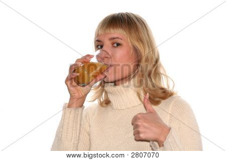 Smiling Girl Is Drinking Juice And Good Idea Gesture