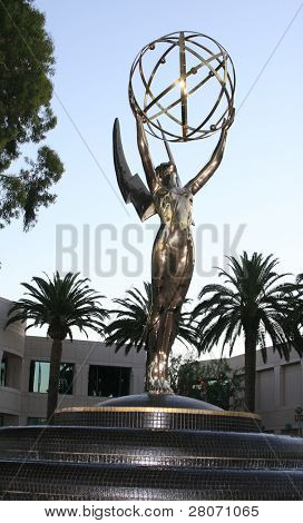 LOS ANGELES - JULY 19: A large Emmy Statue is seen outside the building where the Primetime Emmy nominations were announced in Los Angeles on July 19, 2007.