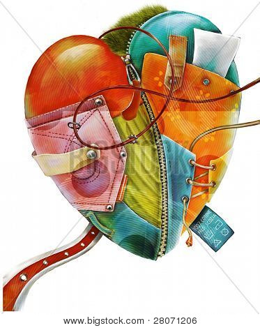 fabric collage heart