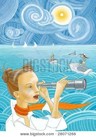 girls at the sea