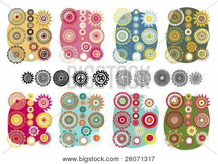 vector flower color set