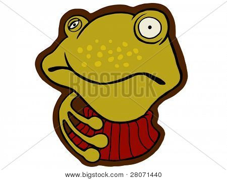 vector cartoon of ill frog